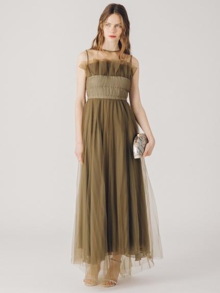 チュールプリーツロングドレス