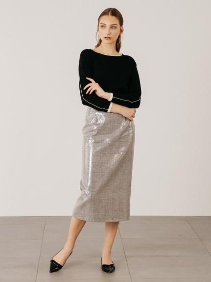 スパンコール刺繍タイトスカート