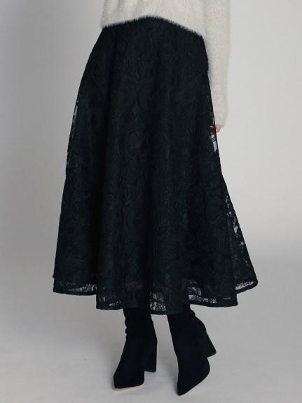 コード刺繍レースフレアスカート