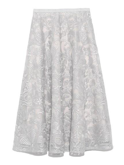 コード刺繍レースフレアスカート(LGRY-36)