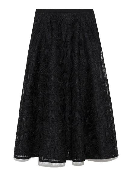 コード刺繍レースフレアスカート(BLK-36)